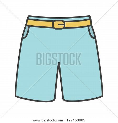 Swimming trunks color icon. Sport shorts. Isolated vector illustration