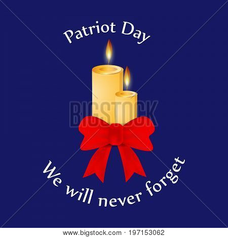 illustration of candle and ribbon with Patriot Day we will never forget text on the occasion of Patriot Day