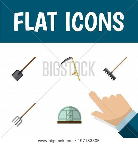 Flat Icon Farm Set Of Shovel, Cutter, Hothouse And Other Vector Objects