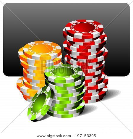 vector gambling illustration with poker chips on clean background