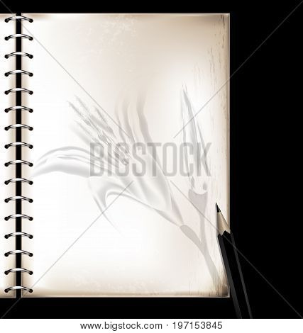 dark background, retro stylized sheet of paper with floral pattern and old-fashioned writing pencil