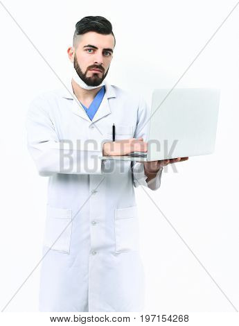 Man With Serious Face In White Hospital Gown. Treatment Technologies