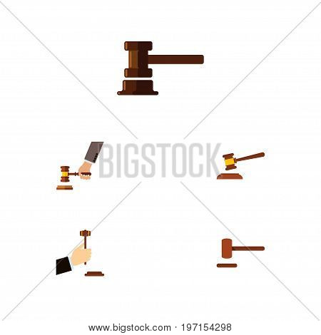 Flat Icon Court Set Of Hammer, Defense, Government Building And Other Vector Objects