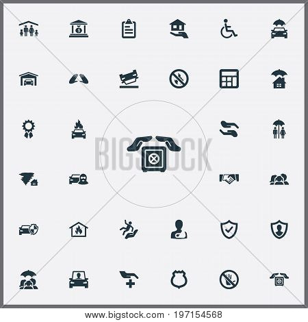 Elements Handicapped, Care, Medical Attendance Synonyms Accidence, Forbidden And Sheriff.  Vector Illustration Set Of Simple Warrant Icons.
