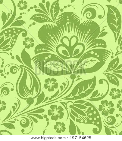 Greenery russian floral seamless pattern texture, illustration. Spring 2017 khokhloma style