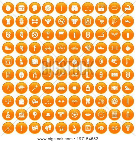 100 kettlebell icons set in orange circle isolated on white vector illustration