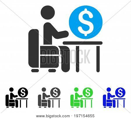 Banker Office flat vector illustration. Colored banker office gray black blue green icon variants. Flat icon style for web design.