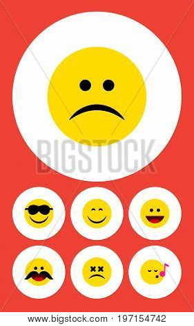 Flat Icon Gesture Set Of Cross-Eyed Face, Smile, Laugh And Other Vector Objects