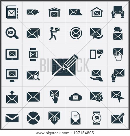 Elements Make Up, Seek, Push And Other Synonyms Envelop, Mouse And Parcel.  Vector Illustration Set Of Simple Message Icons.