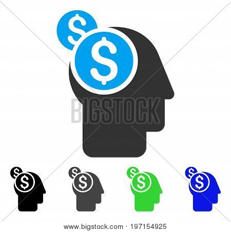 Business Thinking flat vector pictogram. Colored business thinking gray, black, blue, green icon versions. Flat icon style for application design.