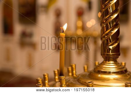 One Candle Lights Bokeh Background Candlelight Service