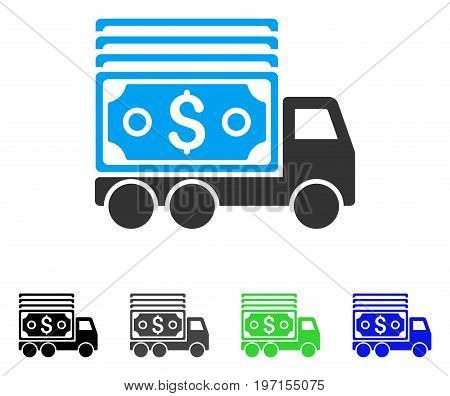 Cash Lorry flat vector pictogram. Colored cash lorry gray black blue green icon variants. Flat icon style for graphic design.