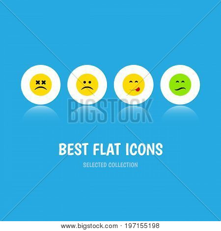 Flat Icon Gesture Set Of Cross-Eyed Face, Delicious Food, Sad And Other Vector Objects