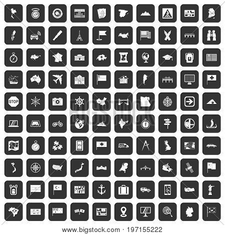 100 cartography icons set in black color isolated vector illustration