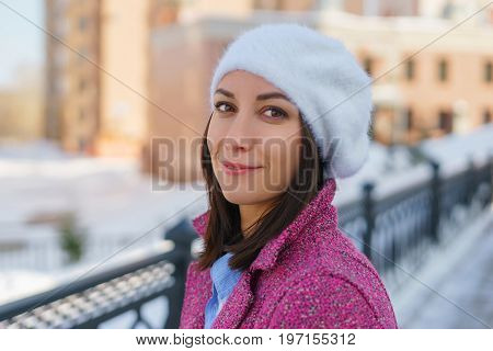 Young Girl In Beret And Coat
