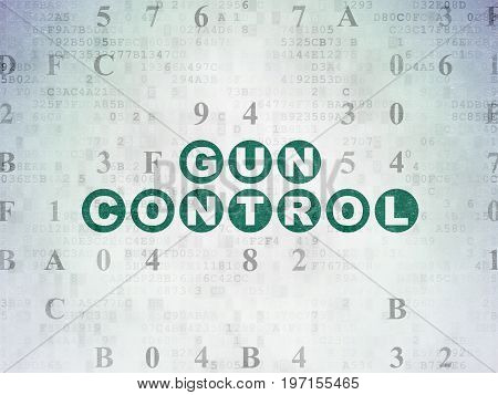 Safety concept: Painted green text Gun Control on Digital Data Paper background with Hexadecimal Code