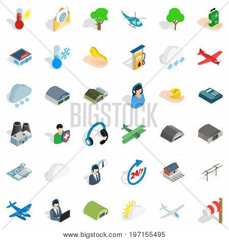 All day airport icons set. Isometric style of 36 all day airport vector icons for web isolated on white background