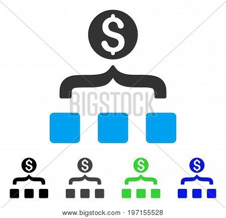 Money Aggregator flat vector pictogram. Colored money aggregator gray, black, blue, green icon variants. Flat icon style for graphic design.