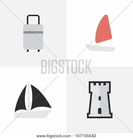 Elements Boat, Schooner, Baggage And Other Synonyms Tower, Bag And Defence.  Vector Illustration Set Of Simple Relax Icons.