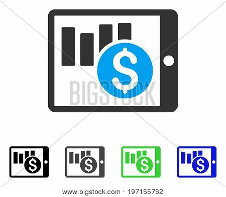 Sales Chart On PDA flat vector illustration. Colored sales chart on PDA gray, black, blue, green pictogram versions. Flat icon style for application design.