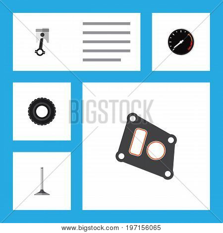 Flat Icon Parts Set Of Conrod, Tachometr, Gasket And Other Vector Objects