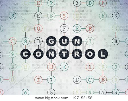Privacy concept: Painted black text Gun Control on Digital Data Paper background with Hexadecimal Code