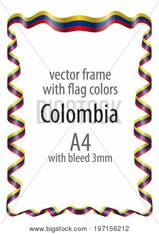 Frame And Border  With The Coat Of Arms And Ribbon With The Colors Of The Colombia Flag