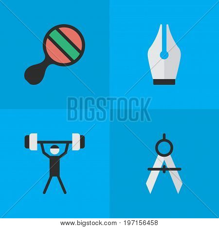 Elements Nib, Measurement Dividers, Racket And Other Synonyms Dividers, Nib And Ping.  Vector Illustration Set Of Simple Education Icons.