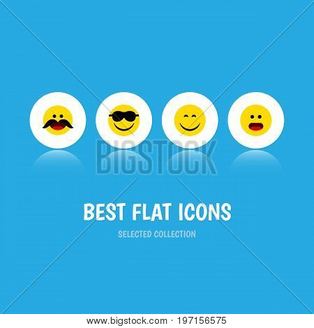 Flat Icon Face Set Of Cheerful, Wonder, Smile And Other Vector Objects