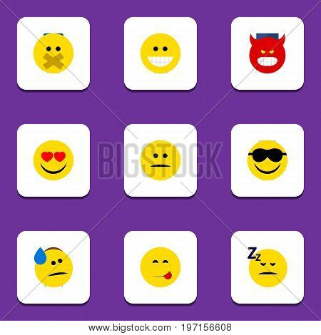 Flat Icon Gesture Set Of Hush, Happy, Tears And Other Vector Objects