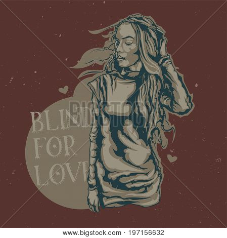 T-shirt or poster design with illustraion of beauty girl