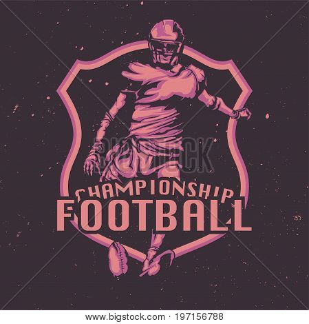 T-shirt or poster design with illustraion of american football player