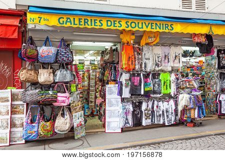 PARIS FRANCE - JUNE 6, 2012: A colorful souvenir shop in Montmartre in Paris.