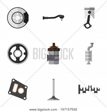 Flat Icon Parts Set Of Gasket, Conrod, Belt And Other Vector Objects