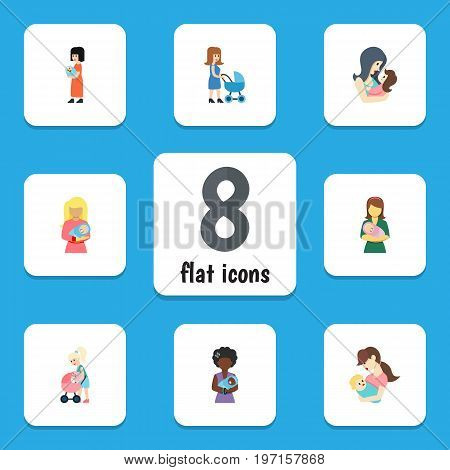 Flat Icon Mother Set Of Woman, Child, Mam And Other Vector Objects