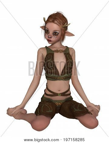 Fantasy illustration of a cute shy forest elf or faun with pointed ears, antlers and deer makeup, kneeling down, digital illustration (3d rendering)