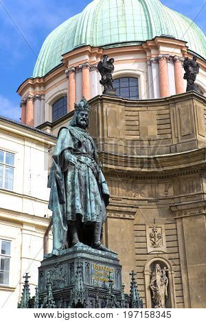 statue of King Charles IV (Karolo Quarto) near Charles Bridge in Prague