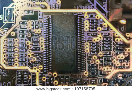 Electronic microcircuit and microchip .Close up .