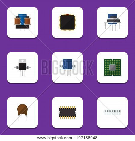 Flat Icon Appliance Set Of Memory, Unit, Receptacle And Other Vector Objects