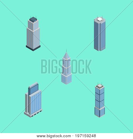 Isometric Skyscraper Set Of Exterior, Apartment, Skyscraper And Other Vector Objects