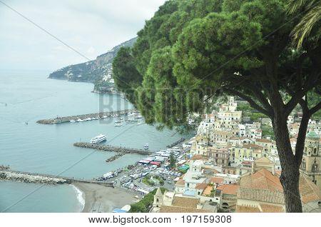 Tirreno Sea. Amalfi old town, Campania, Italy