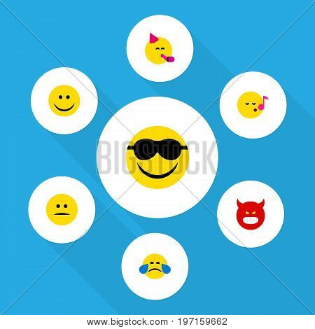 Flat Icon Expression Set Of Party Time Emoticon, Happy, Displeased And Other Vector Objects