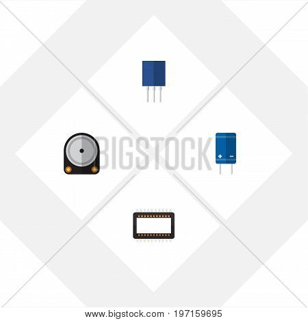 Flat Icon Technology Set Of Receptacle, Transistor, Hdd And Other Vector Objects
