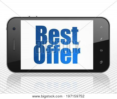 Business concept: Smartphone with blue text Best Offer on display, 3D rendering
