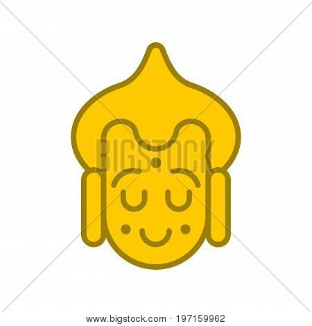 Buddha Face Emoji Avatar. Buddhist Statue Head. Meditation And Enlightenment.