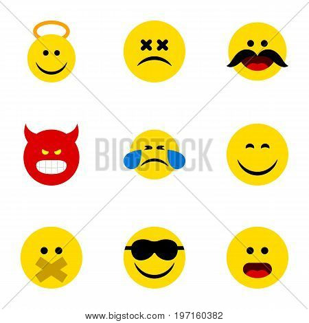 Flat Icon Emoji Set Of Smile, Hush, Angel And Other Vector Objects