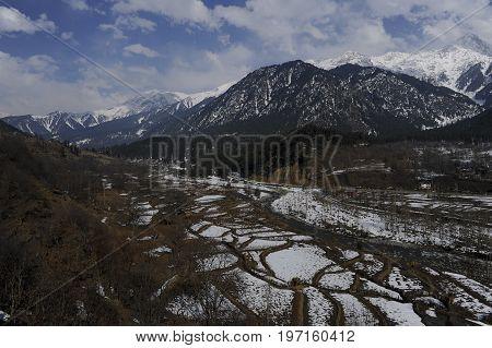a beautiful scenery during winter in Kashmir