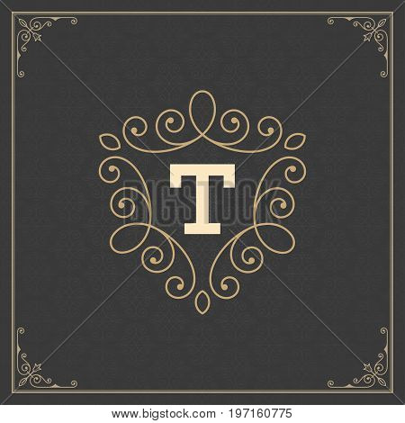 Ornament Logo Design Template Vector Decoration, Flourishes Calligraphic Elegant Royal Frame Lines. Good for Luxury Crest.