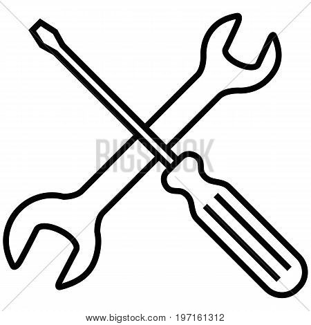 Vector Icon - Setting And Options Symbol. Crossed Wrench And Screwdriver