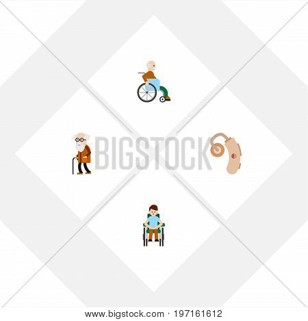 Flat Icon Handicapped Set Of Handicapped Man, Ancestor, Audiology Vector Objects